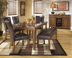 Lacey Rectangular Dining Room Table, 4 UPH Side Chairs & Large UPH Bench | Dining Room Groups | American Furniture Galleries