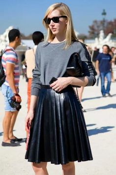 a3348f03e2 Falda plisada de piel sintetica Falda Negra Plisada