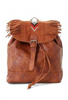 Aztec Stitch Fringe Backpack