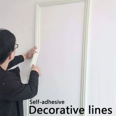 Buy TV Setting Wall Decoration Lines Pattern Self-adhesive Decorative Wall Molding Lines Background Lines Mural Border Line Smart Home Items Wall Paper Wall Stickers at Wish - Shopping Made Fun Diy Wall, Wall Decor, Room Decor, Picture Frame Molding, Picture Frame Tv, Line Tv, Decorative Lines, French Walls, Wall Borders