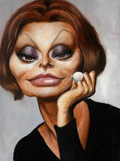 I love Derren Brown's art and this is a particular favourite - Sophia Loren. If I had a dressing room, I would hang this in it. Cartoon Faces, Funny Faces, Cartoon Art, Caricature Artist, Caricature Drawing, Drawing Art, Funny Caricatures, Celebrity Caricatures, Sophia Loren