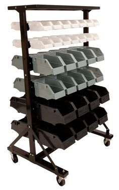 I've got to get one of these! Wow - my mind is racing with all the stuff I can stash and organize!    This 2-sided storage bin cart is a great way to store and easily access your art materials or anything else that needs organizing!