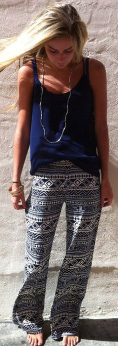 loose navy and white print pants.... kind of remind me of palazzo pants http://shopdandylionboutique.com/products/heart-of-gems-pants ****idea for the type of print I can do for the white pants