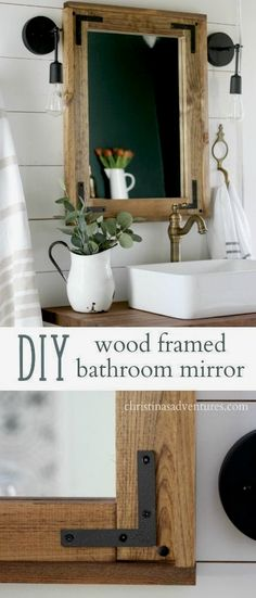 Diy wood framed bathroom mirror plus dark fixtures a simple project that doesnt require any fancy tools great for your farmhouse inspired bathroom