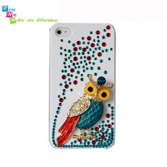 Handmade hard case, back cover for iPhone 4 & 4S: Bling Macaw (custom are welcome)