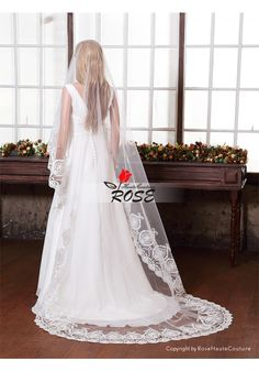 Beads Wedding Veil One Layer Tulle Bridal Veil Applique Veil No Comb Style BV105 - Wedding Veil