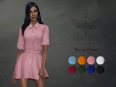 The Sims Resource: Poppy Shirt dress by Sentate • Sims 4 Downloads