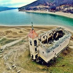 God's view on Mavrovo lake and old church