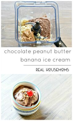 Chocolate Peanut Butter Banana Ice Cream is so easy to make, 3 ingredients and the perfect guiltless treat to satisfy a sweet tooth!