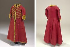Servant boy's coat, 1700s, Denmark, red silk. Belonged to a 4-5-year old. A rare preserved example of servant livery for children. NATMUS DK