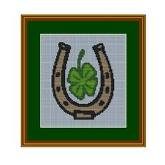 Horseshoe. Lucky Clover Counted Cross Stitch Pattern. Pattern. Sign PDF Instant Download.Home decor Art. Cross Stitch Pattern