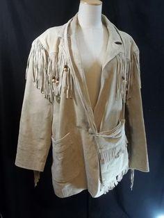 Fringe Beaded Suede Leather Coat Jacket Size M With Matching Purse Tan Lined #FashionElements #fringewestern