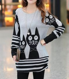 Sweet Style Scoop Neck Cat Print Striped Long Sleeve Loose Fit T-Shirt For Women | TwinkleDeals.com