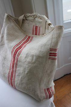 Bag of linen/cotton sacking.   Summersoul: Grain Sack Market Totes