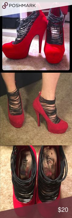 Shi by Journeys red stilettos Red sueded heels with a ton of elastic straps to cover the top of the feet and zippers up the back. Some discoloration on the back which is pictured, not noticeable and probably can be cleaned. Otherwise in excellent condition!! Shi Shoes Platforms