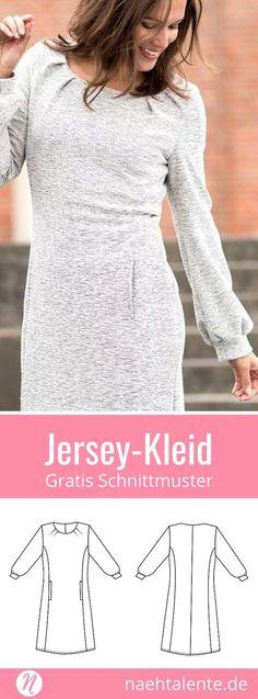 Kostenloses Schnittmuster für ein Jerseykleid für Damen ❤ Gr. 38 - 52 ❤ PDF zum Ausdrucken ❤ Freebook ✂ Jetzt Nähtalente.de besuchen ✂ Free Sewing Pattern for a Womans-Jersey-Dress in Size 38 - 58 ✂ #nähen #freebook #schnittmuster #gratis #nähenmachtglücklich #freesewingpattern #handmade #diy