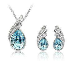 Halskette ohrring, versandkostenfrei vergoldet kristall schmuck-set DS4