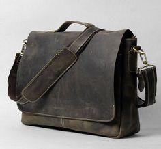 Vintage Leather Messenger Bag ~ Men's bag Women's bag