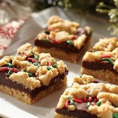Fudge-Filled Holiday Peanut Butter Bars...