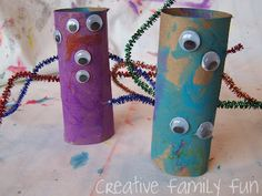 10 things to do with a cardboard tube.  Make puppets out out of them (or monsters or catepillars.  Then do a writing activity or play with them.