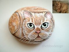 Painted+Cat+Rock+-+Custom+Made+Pet+rock