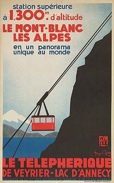 PLM - le téléphérique de Veyrier - lac d'Annecy - le Mont-Blanc - Les Alpes - 1934 - illustration de Henry Reb