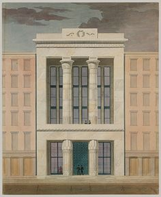 American Institute, New York City (front elevation), ca. 1834–35 (project), Alexander J. Davis (American, 1803–1892); Town & Davis Watercolor, ink, and graphite on paper Although Davis designed several very impressive Egyptian Revival buildings, the style was more commonly used for penitentiaries, cemetery entrances, and monuments.