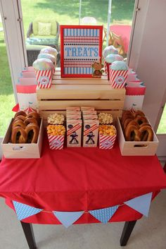 Treats at a big top backyard carnival  birthday party! See more party planning ideas at CatchMyParty.com! Carnival Snacks, Circus Party Foods, Circus Food, Carnival Ideas, Carnival Parties, Circus Carnival Party, Kids Carnival, Circus Theme Party, Carnival Themed Birthday Party