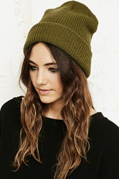 Vintage Renewal Beanie Hat in Khaki at Urban Outfitters