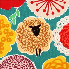teal flower sheep oxford fabric by Cosmo from Japan