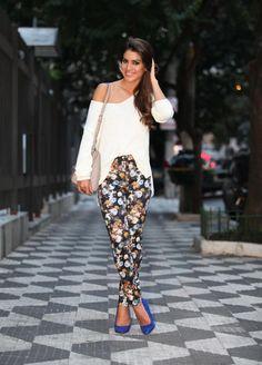 Meu look: Floral print trousers