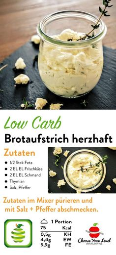 Low Carb Brotaufstrich - Choose Your Level™ Spread savory recipe, spread vegetarian, spread healthy, Law Carb, Baked Eggplant, Cream Cheese Spreads, Queso Fresco, Butter Chicken, Low Calorie Recipes, Food Lists, Finger Foods, Great Recipes