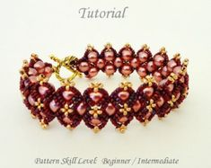 PROJECT SKILL LEVEL: beginner / intermediate. LANGUAGE: English  This is a DIGITAL FILE only. No beads and no finished product are included in this sale.  Downloadable PDF file will be available once payment is confirmed. No refund will be issued after the tutorial has been downloaded.  This tutorial includes detailed step by step instructions with lots of computer diagrams and 4 photos of the completed project for visual help. Also included are the beads colors, numbers, brands/man...