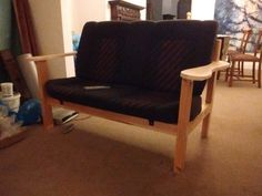 VW Volkswagen Mk2 Golf GTI rear bench seat converted to small sofa using a timber frame.