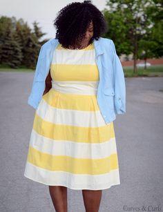 My Curves  Curls™ | A Canadian Plus Size Fashion blog: Yellow Stripes