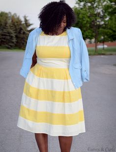 My Curves Curls™ | A Canadian Plus Size Fashion blog: Yellow Stripes