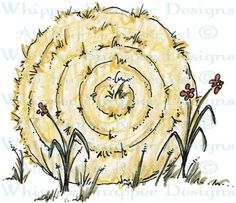 Round Hay Bale - Farm - Animals - Rubber Stamps - Shop