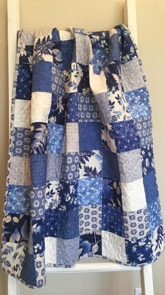 Ready To Ship blue and white baby quilt, throw quilt, classic blue and white sofa quilt, toddler quilt, baby boy or girl quilt Blue Jean Quilts, Red And White Quilts, Blue And White Fabric, Baby Boy Quilt Patterns, Charm Square Quilt, Charm Pack Quilts, Flannel Quilts, Japanese Quilts, Strip Quilts
