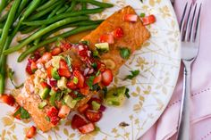Grilled Salmon with Strawberry Avocado Salsa by foodiebride, via Flickr