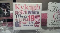 baby gift - tile with name, date, time, length and weight