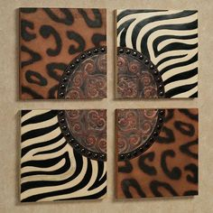 Decorate your wall and evoke the Serengeti savannahs with the safari animal prints on the Rozhani Wall Plaque Set. Handpainted resin wall plaques feature both leopard and zebra prints, faux nailhead trim, and a stylized moorish design. African Theme, African Safari, African Art, Safari Home Decor, Safari Decorations, Safari Theme, African Interior, African Home Decor, Animal Print Decor