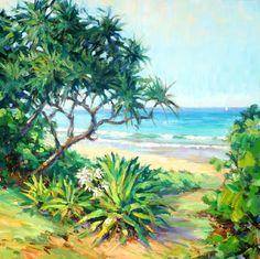 by jenifer prince Watercolor Landscape, Landscape Paintings, Flower Tiara, Hawaiian Art, Modern Impressionism, California Art, Beach Scenes, Retro Futurism, Painting Inspiration