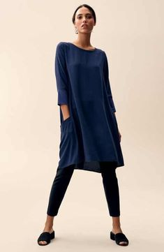 Main Image - Eileen Fisher Tunic & Pants Outfit with Accessories Mode Outfits, Stylish Outfits, Fashion Outfits, Womens Fashion, 60 Fashion, Dress Over Pants, Pants For Women, Clothes For Women, New Shape