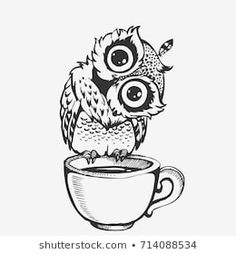 Cute owl cartoon bird character line sketch. Hand drawn vector illustration for t-shirt print design, coloring book, greeting card. Isolated on white Atrapasueños Tattoo, Buho Tattoo, Sketch Tattoo, Cute Owl Cartoon, Cartoon Birds, Owl Sketch, Line Sketch, Art And Illustration, Cute Owl Drawing