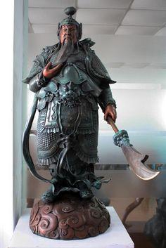 007.941 35 China Bronze Copper Guerreiro escultura Guan Yu Gong dragão Buddha Espada Estátua