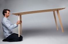 Kleinergleich5: just abaout 4.5 kg, lets assume that is's probably lightest wooden table in the world