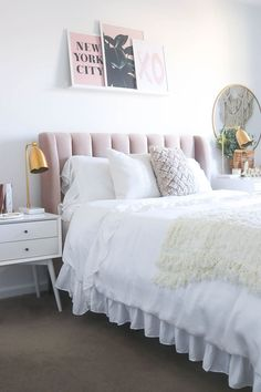 Blush Headboard | Neutral and Blush Bedroom | Pink Bedroom | Gold and Marble Bedroom | Teen room