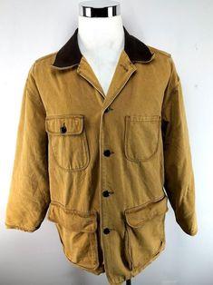 1c7860321c Vintage Members Only Barn Coat Jacket Khaki w  Brown Trim RARE S  fashion