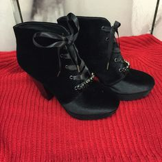 """ON HOLDNew Betseyville Booties New Black Velvet Betseyville Booties with Jewels on the Laces. Gorgeous & Perfect Condition! 4"""" Chunky Heel! Man Made Materials Betseyville Shoes Ankle Boots & Booties"""