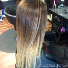 Brown to blonde balayage ombre. Straight hair. Balayage. Ombre. Blonde ombre…